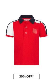 Boss Kidswear Baby Boys Red Cotton Polo Shirt
