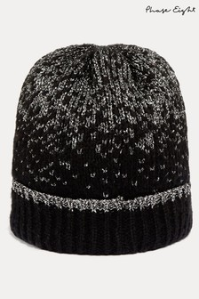 Phase Eight Black Leya Metallic Thread Hat
