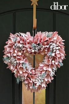 Rose Pinecone Heart Wreath by Dibor