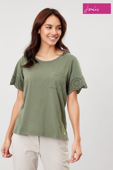 Joules Green Arlo Broderie Sleeve Jersey Top