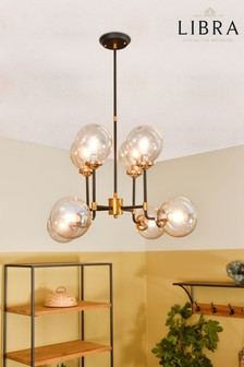 Libra Mercer Glass Bubble Black And Brass Chandelier