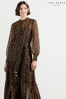 Ted Baker Lettii Deco Printed Long Sleeve Maxi Dress