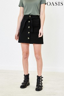 Oasis Black Button Through Mini Skirt