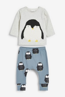 Penguin Cosy Fleece Jumper And Stretch Leggings Set (0mths-2yrs)