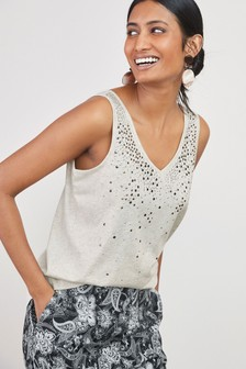 Embellished V-Neck Vest