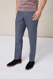 Костюмные брюки из меланжевой ткани со льном