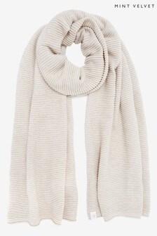 Mint Velvet Cream Ribbed Knitted Scarf