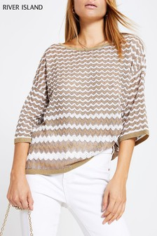 River Island Gold Oversized Zig Zag Top