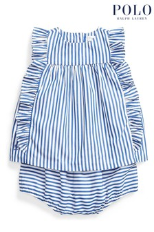 Ralph Lauren Blue And White Stripe Blouse And Shorts Set