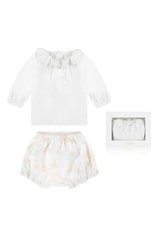 Baby Girls Cotton Blouse & Bloomers Gift Set