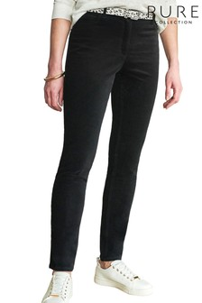 Pure Collection Black Washed Velvet Jeans