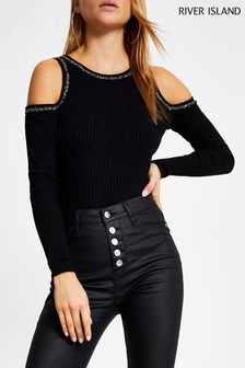 River Island Black Cold Shoulder Embellished Top