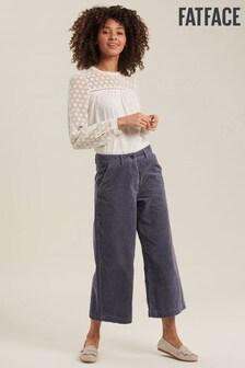 FatFace Blue Cord Wide Leg Crop Trousers