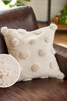 Textured Pom Pom Small Square Cushion