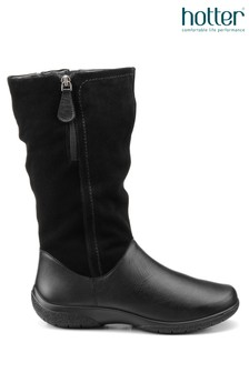 Hotter Black Matilda Twin Zip Fastening Calf Boots
