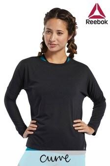 חולצת טי שחורה עם שרוול ארוך דגם Workout Ready למידות גדולות של Reebok