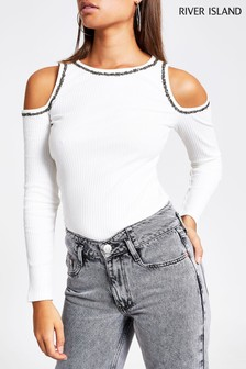River Island Cream Cold Shoulder Embellished Top