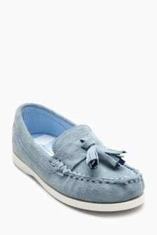 Water Resistant Suede Tassel Loafers (Younger)