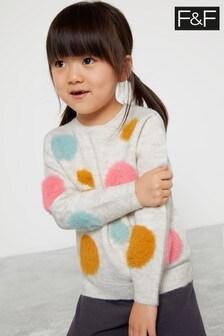 F&F Oatmeal Knitted Spot Jumper