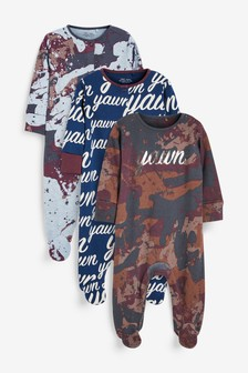 3 Pack Camouflage Slogan Sleepsuits (0mths-2yrs)