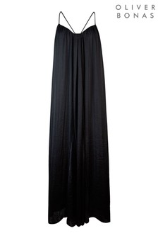 Oliver Bonas Black Rosella Matte Satin Flowing Maxi Dress