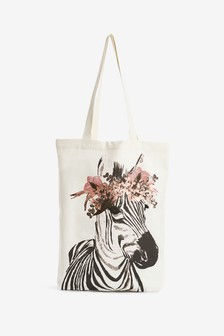Zebra Print Canvas Tote Bag