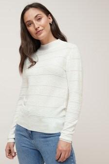 סוודר תיפורים מבד דמוי תחרה