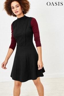 Oasis Black Lace Trim Dress