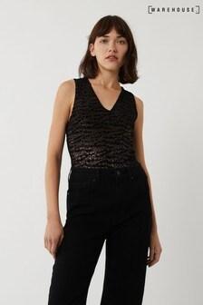 Warehouse Bronze Leopard Print Velvet Bodysuit