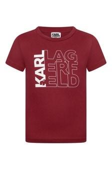 Boys Red Cotton Logo T-Shirt