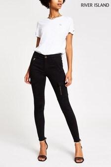 River Island Black Megan Utility Skinny Jeans