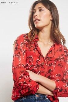 Mint Velvet Red Emma Print Blouse Shirt