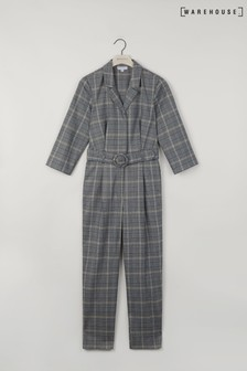 Warehouse Grey Check Jumpsuit