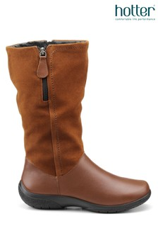 Hotter Tan Matilda Twin Zip Fastening Calf Boots