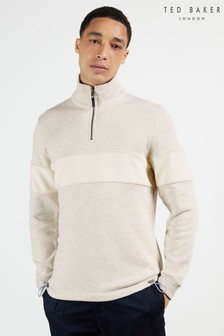 Ted Baker Flowsun Half Zip Funnel Neck With Toweling Panel