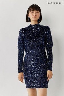 Warehouse Blue Sequin Puff Sleeve Mini Dress