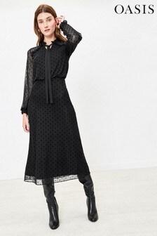 Oasis Black Spot Pussy Bow Midi Dress