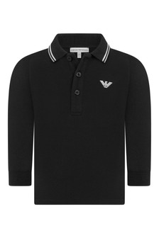 Baby Boys Black Cotton Polo Top
