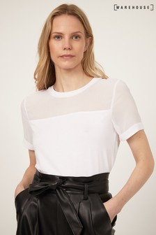 Warehouse White Sheer Mesh T-Shirt