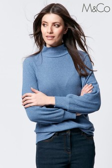 M&Co Ribbed Turtle Neck Top