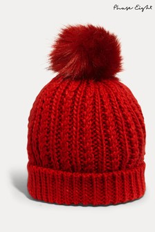 Phase Eight Red Caris Cable Hat
