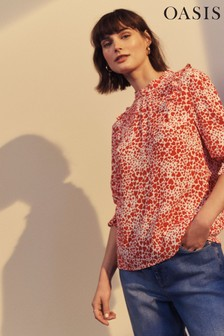 Oasis Red Heart Print Blouse