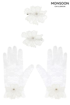 Monsoon Lace Butterfly Gloves & Hair Clip Set