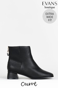 Evans Curve Extra Wide Fit Black Ring Zip Ankle Boots