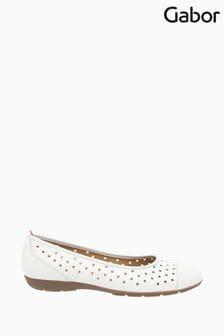 Gabor White Leather Ruffle Ballerina Pumps