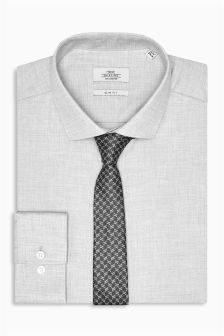 Marl Slim Fit Shirt And Tie Set