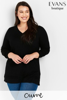 Evans Curve Black Ribbed V-Neck Jumper