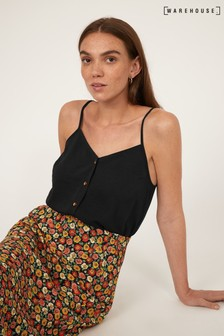 Warehouse Black Button Front Camisole