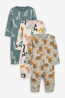3 Pack Rib Sleepsuits (0mths-3yrs)