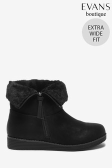 Evans Extra Wide Fit Black Faux Fur Cuff Wedge Ankle Boots